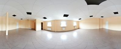Sferische 360 van de panoramagraden projectie, panorama in de binnenlandse lege decoratie van de ruimtereparatie in moderne vlakk Stock Afbeelding