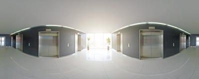 Sferische 360 van de panoramagraden projectie, panorama in binnenlandse lege lange gang met deuren en ingangen aan verschillende  Stock Afbeelding