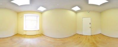 Sferische 360 van de panoramagraden projectie, panorama in binnenlandse lege ruimte in moderne vlakke flats Stock Foto's