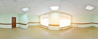 Sferische 360 van de panoramagraden projectie, panorama in binnenlandse lege ruimte in moderne vlakke flats Stock Afbeeldingen