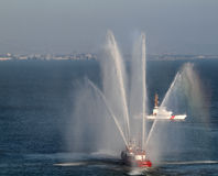 SFFD Fireboat sprays water into the air Stock Image