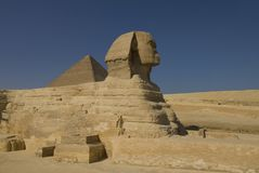 Sfinks and pyramid in Giza Royalty Free Stock Photos