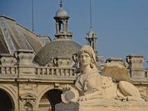 Sfinks strażowa statua, szczegół kasztel Chantilly, France obrazy royalty free
