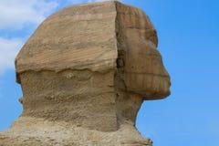 Sfinksa kierowniczy zakończenie cheops Egypt frontowy Giza ostrosłupa lato Zdjęcia Royalty Free