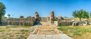 Sfinksy i ulgi na Południowej bramie przy Alacahoyuk obraz stock