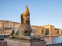 Sfinx av den egyptiska bron Arkivfoton