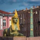 Sfinx av den egyptiska bron över den Fontanka floden, St Petersburg Arkivbild