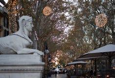 Sfinx en el DES de Passeig llevado fotografía de archivo libre de regalías