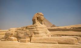 Sfinx en grote piramides stock foto