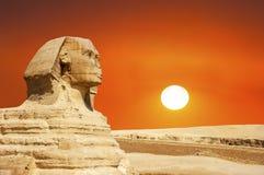 Sfinx, Giza, de Reis van Kaïro Egypte, Zonsopgang, Zonsondergang stock foto