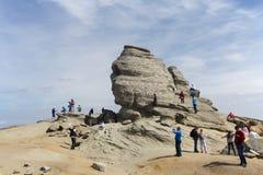 Sfinx i den rumänska nationalparken Bucegi Arkivbilder