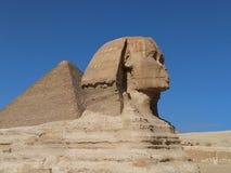 Sfinx met piramide op achtergrond stock foto