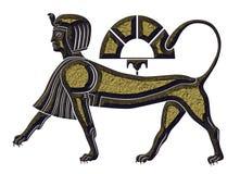 Sfinx - mytisk varelse av forntida Egypten Arkivfoto
