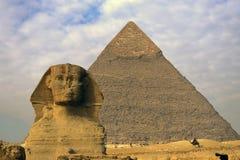 Sfinx, Piramide en Egyptisch m Royalty-vrije Stock Afbeelding