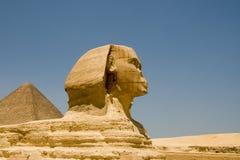 Sfinx van Giza en de Piramide Stock Afbeeldingen