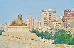 Sfinxen i staden, Alexandria, Egypten Arkivbilder
