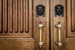 Sfinxhuvudingång på trädörr Royaltyfri Fotografi