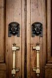 Sfinxhuvudingång på trädörr Royaltyfria Bilder