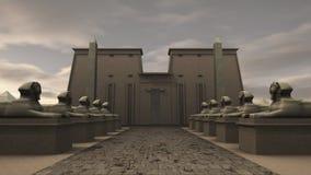 Sfinxstandbeelden bij een tempel in oud Egypte Royalty-vrije Stock Foto's