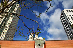 Sfmoma. Blue sky and clouds over the san francisco moma Stock Photography