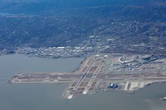 SFO aerial view. SFO international airport aerial panorama by San Francisco Bay, California stock images