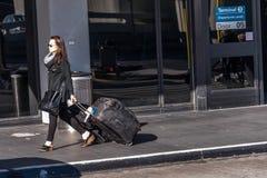 SFO, San Francisco International airport - passengers outside wi Stock Photography