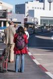 SFO, San Francisco International airport - passengers outside wi Stock Photo