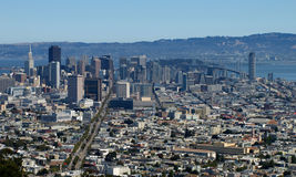 SFO skyline. San Francisco downtown buildings and landmarks Stock Images