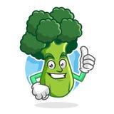 Sfogli sui broccoli la mascotte, il carattere dei broccoli, fumetto dei broccoli Immagini Stock