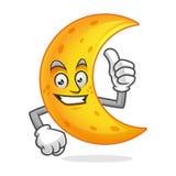 Sfogli sulla mascotte della luna, il carattere della luna, vettore del fumetto della luna Fotografia Stock Libera da Diritti
