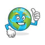 Sfogli sulla mascotte della terra, il carattere della terra, vettore del fumetto della terra Fotografia Stock Libera da Diritti