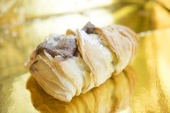 Sfogliatella stuffed with chocolate cream Royalty Free Stock Photos