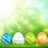 Sfondo naturale con le uova di Pasqua Immagine Stock Libera da Diritti