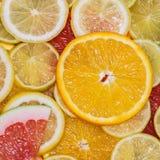 Sfondo naturale dalle fette di agrumi differenti, di vitamine e di concetto sano di cibo Immagine Stock