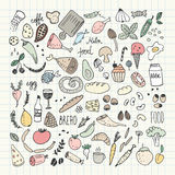 SFood doodles collection. Hand drawn vector icons. Freehand drawing Royalty Free Stock Images