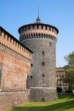 Sforza城堡塔,米兰 库存图片