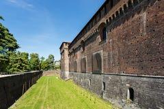 Sforza城堡,米兰的墙壁 库存照片