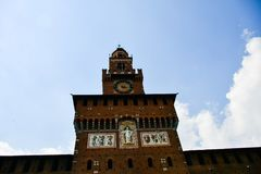 Sforza Castel in Milan in Milan, Italy. Detail of Sforza Castel in Milan. Lombardy, Italy. June 2018 stock photography
