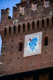 Sforza Castel in Milan in Milan, Italy. Detail of Sforza Castel in Milan. Lombardy, Italy. June 2018 royalty free stock photos