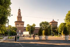 Sforza Castel a Milano, Italia Fotografie Stock