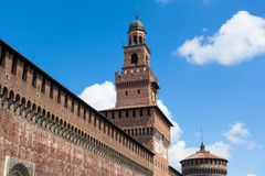 Sforza castello castle in  Milan city in Italy Royalty Free Stock Image
