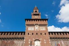 Sforza castelloslott i den Milan staden i Italien Arkivbilder