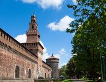 Sforza castelloslott i den Milan staden i Italien Fotografering för Bildbyråer