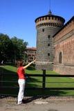 Sforza Castle. A tourist displaying the Sforza Castel in Milan, Italy Stock Photos