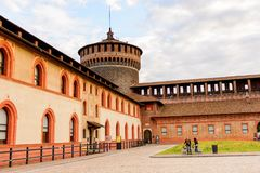 Sforza Castle (Castello Sforzesco). MILAN, ITALY - MAY 2, 2016: Sforza Castle (Castello Sforzesco), a castle in Milan, Italy. It was built in the 15th century by royalty free stock photography