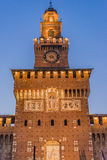 Sforza Castle tower lights. The central tower (Torre del Filarete) of the Sforza Castle (Castello Sforzesco) in Milan citu center royalty free stock images