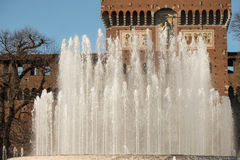 Sforza castle fountain Stock Images