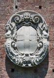 Sforza Castle heraldry stucco. Milan city Italy Sforza Castle landmark architecture heraldry stucco royalty free stock images