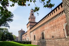 Sforza Castle Italian: Castello Sforzesco in Milan, Italy. royalty free stock photos