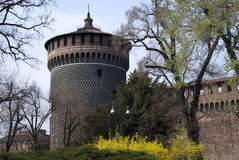 The Sforza castle in Milan. The tower of Sforza castle in Milan, Italy stock image